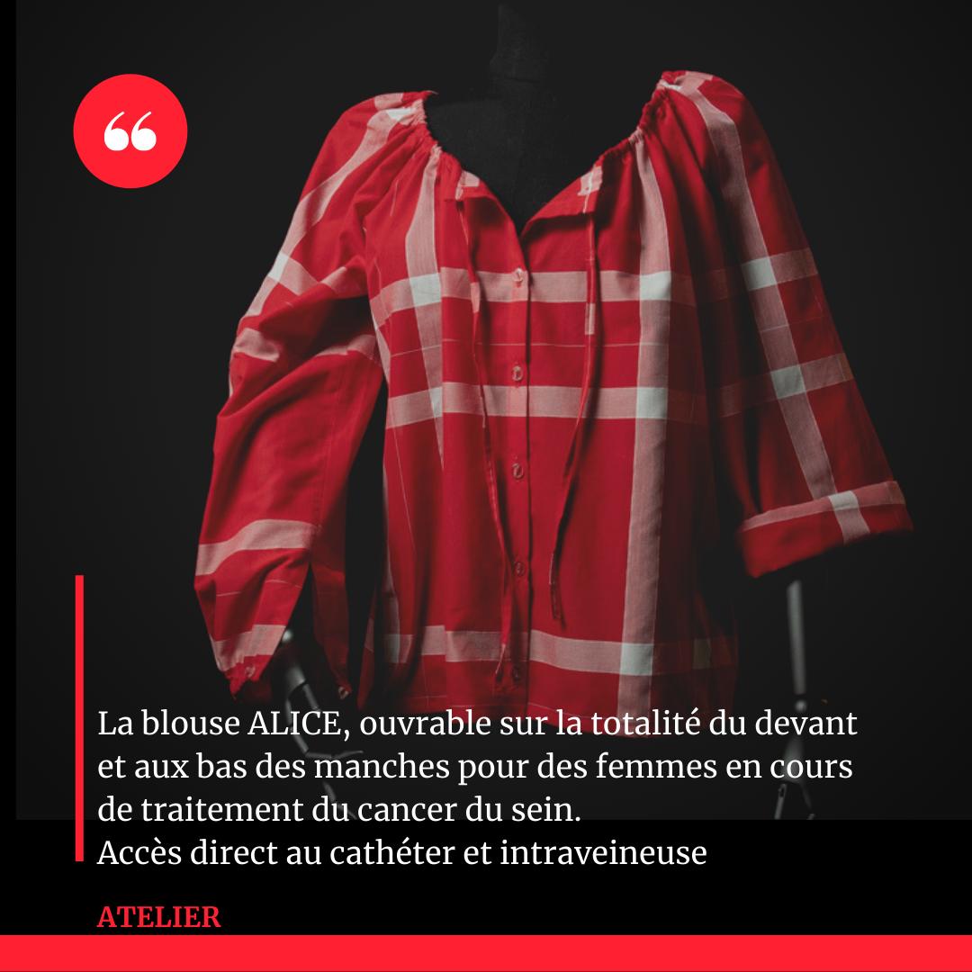 La blouse ALICE- ouvrable sur la totalite du devant et aux bas des manches pour des femmes en cours de traitement du cancer du sein. Acces direct au catheter et